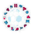 a set soccer icons and lettering in a football vector image vector image