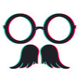 anaglyph effect on glasses and moustache vector image vector image