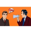 Angry Boss Screaming in Megaphone on Businessman vector image vector image