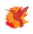 background with flying colibri bird on flame brush vector image