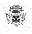 barbershop emblem template hipster skull with vector image vector image