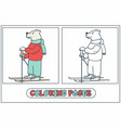bear skier coloring vector image