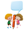 boy and girl holding giant pencil vector image
