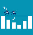 business team running rope above graph concept vector image vector image
