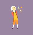 cartoon character of isaac newton - famous vector image vector image