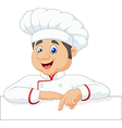 Cartoon chef cloche pointing at blank sign vector image vector image