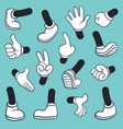 cartoon legs hands leg in boots and gloved hand vector image