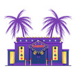 casino building on background palm trees flat vector image vector image