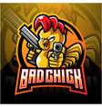 chick with gun mascot logo design vector image vector image