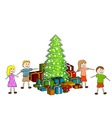children with christmas tree vector image