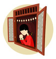 chinese girl praying in the window vector image vector image