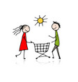 couple with shopping trolley sketch for your vector image vector image