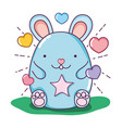 cute mouse animal with hearts and stars vector image vector image