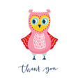 cute owl or owlet and thank you phrase handwritten vector image vector image