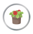 Flower in the pot icon in outline style isolated
