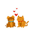 funny dog and cat in love cute domestic pet vector image vector image