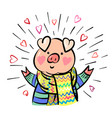 funny happy pig dressed up in scarf comic cartoon vector image vector image
