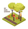 gardening isometric concept vector image vector image