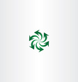 green arrow symbol recycle spiral sign logo vector image vector image