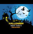 halloween night party blue background vector image vector image