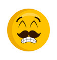 happy emoji with mustache vector image