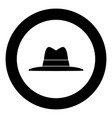 hat black icon in circle vector image vector image