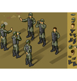 isometric set of military people standing vector image vector image