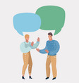 man and woman in dialogue blank speech bubbles vector image vector image