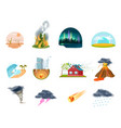 natural disasters isolated icons set vector image