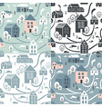 northern town seamless pattern set for winter vector image vector image