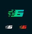number 6 modern speed shapes logo design vector image vector image
