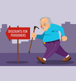 old man person walking with stick concept vector image