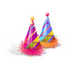 pair party hat set isolated with decorations on vector image vector image