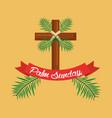 palm sunday cross branch ribbon celebration vector image vector image