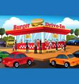 people ordering hamburger at a drive-in hamburger vector image