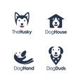 playful minimalist dog logo set on negative space vector image