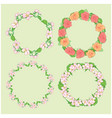 roses and apple-tree flowers in wreath - frames vector image