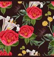 seamless pattern with red peony lilies flowers vector image vector image