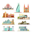 set of line commercial and residential buildings vector image vector image