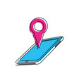 smartphone with pin location vector image