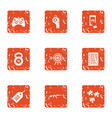 sport online icons set grunge style vector image