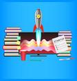 startup computer books pensil marker rocket vector image