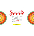 summer sale banner with half past of watermelons vector image vector image