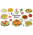 traditional christmas dishes vector image vector image