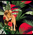 tropical tree palm tree plant lion animal vector image vector image
