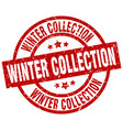 winter collection round red grunge stamp vector image vector image