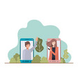 young couple in smartphone with landscape vector image vector image