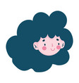 young woman face cartoon character isolated icon vector image vector image