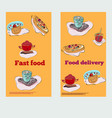 food items for cafe in bright colors in horizontal vector image