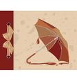 Open umbrella on vintage background vector image
